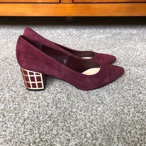Brian Atwood Merlot Suede Cage Stacked Heel